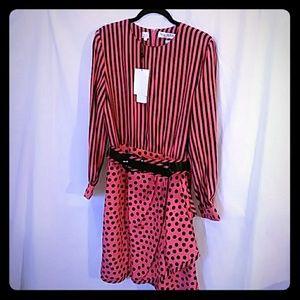 Vintage Bill Blass 100% Silk Pink & Black Dress